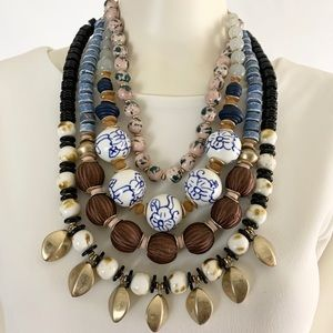 Anthropologie Necklace 4 Strand Multi-Color Beads